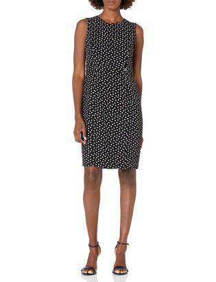 Kasper Women's City Blocks Print Sleeveless Sheath Dress with Button Detail