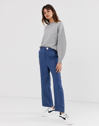 Asos wide crop button trouser-Blue