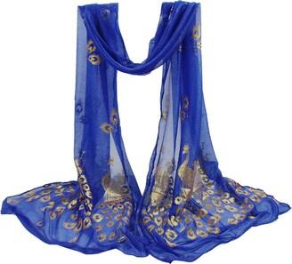 DEELIN Womens Fashion Lady Multi-color Peacock Flower Scarf Long Soft Wrap Shawl Stole Pashmina Winter Warm Ladies Long Shawl Wrap 160CM*43CM Blue