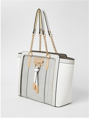 River Island Pannelled Wing Tote Bag - Light Grey