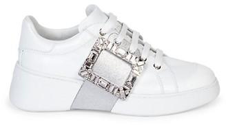 Roger Vivier Viv Glitter & Crystal Buckle Skate Sneakers