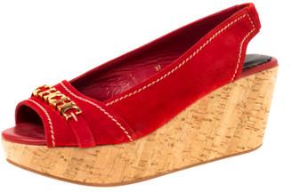 Ch Carolina Herrera Carolina Herrera Red Suede Peep Toe Slingback Sandals Size 37