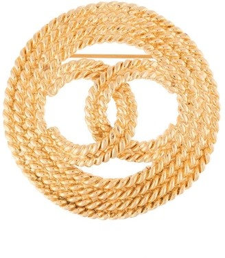 Chanel Pre Owned 2002 cord-effect CC brooch