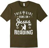 Women's Reader t-shirt, Teacher Gift This Girl Runs On Jesus Reading Medium