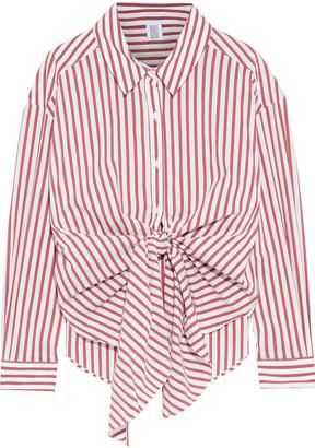 Rosie Assoulin Tie-front Striped Cotton-blend Poplin Shirt