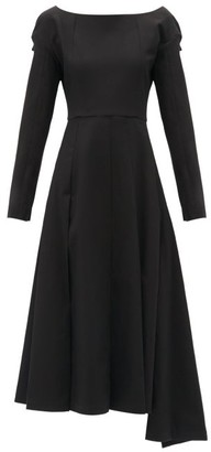 A.W.A.K.E. Mode Boat-neck Asymmetric Cotton Dress - Black