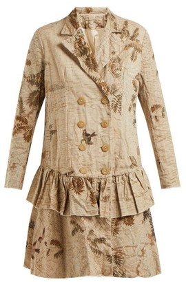 By Walid Hazy-jungle Double-breasted Coat - Womens - Beige Print