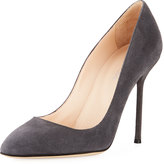 Sergio Rossi Suede High Slip-On Pump, Light Gray