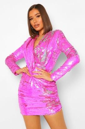 boohoo Sequin Draped Long Sleeve Mini Dress
