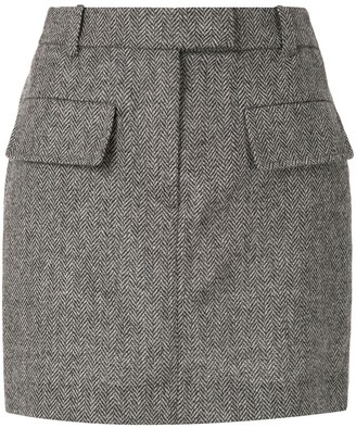 Vera Wang Herringbone-Pattern Mini Skirt