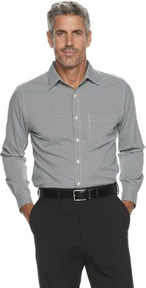 Haggar Men's Quick Dry Small Gingham Check Shirt