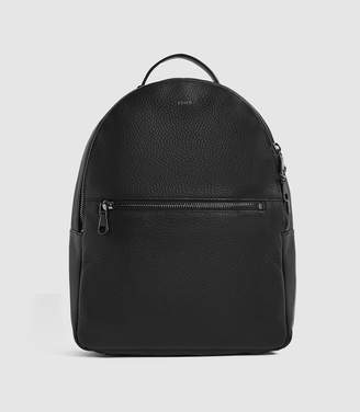 Reiss GRAYSON TEXTURED LEATHER BACKPACK Black