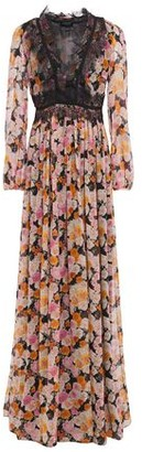 Giambattista Valli Gathered Lace-trimmed Floral-print Silk-georgette Gown