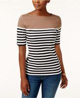 Karen Scott Colorblocked Striped Top, Created for Macy's