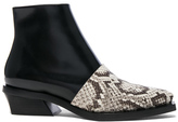 Proenza Schouler Leather & Snakeskin Ankle Boots in Black,Animal Print.