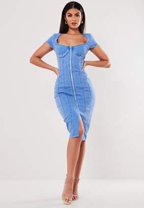 Missguided Blue Zip Through Cap Sleeve Denim Midi Dress