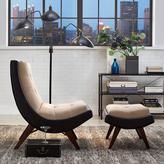 HomeSullivan Brown Vinyl Tufted Chair & Ottoman with Peat Microfiber