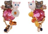 Les Nereides LITTLE CATS DUO WITH FACETED GLASS AND CHARMS EARRINGS - Fuchsia - O/S