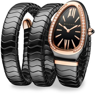 Bvlgari Serpenti Black Ceramic & 18K Rose Gold Double Twist Bracelet Watch