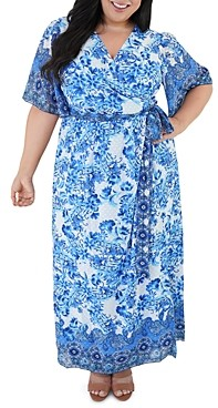 Marée Pour Toi Plus Border Printed Maxi Dress