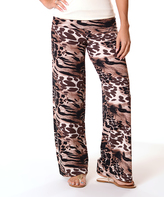 Brown & Taupe Animal Print Fold-Over Palazzo Pants