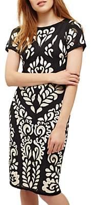 Phase Eight Sanna Tapework Dress, Cream Oyster/Navy