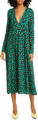 La DoubleJ Trapezio Leopard Floral Long Sleeve Midi Dress