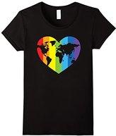 Women's Rainbow Heart LGBT Gay Lesbian Earth Pride Flag T-Shirt Small