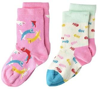 Happy Socks Cat Socks 2-Pack (Toddler) (Light/Pastel Yellow) Crew Cut Socks Shoes