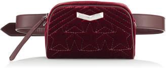 Jimmy Choo HELIA CAMERA BAG Bordeaux Velvet Camera Bag with Stitched Stars