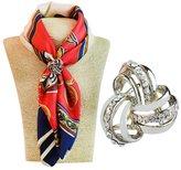 SevenAndEight S&E® Three Ring Diamante Metallic Silk Scarves Clip Fashionable Scarf Ring Chiffon Buckle