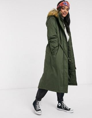 Brave Soul genevive maxi parka coat-Green