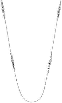 Italian Silver Graduated Hammered Bead StationNecklace, 12.8g