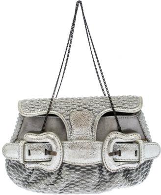 Fendi Metallic Silver Leather Mini B Evening Clutch