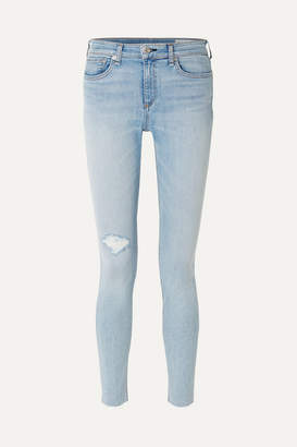 Rag & Bone The Skinny Mid-rise Distressed Jeans - Light denim