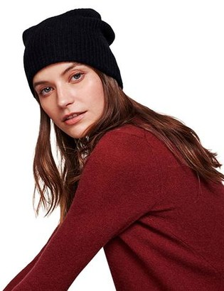 White + Warren Plush Rib Beanie - Black