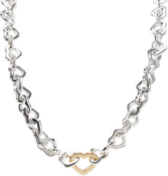 Tiffany & Co. Heart Link 18K Yellow Gold And Sterling Silver Necklace