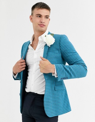 Asos Design DESIGN wedding super skinny wool mix blazer in large blue houndstooth