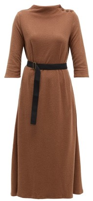 Albus Lumen - Taza Belted Cotton-blend Dress - Womens - Brown