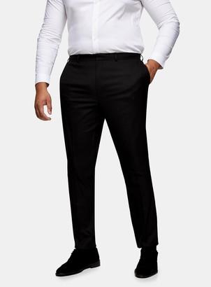 Topman BIG & TALL Black Textured Skinny Fit Suit Trousers
