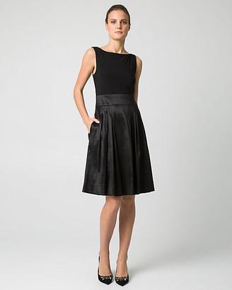 Le Château Taffeta & Knit V-Back Cocktail Dress
