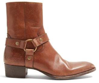 Saint Laurent Wyatt Leather Boots - Mens - Brown