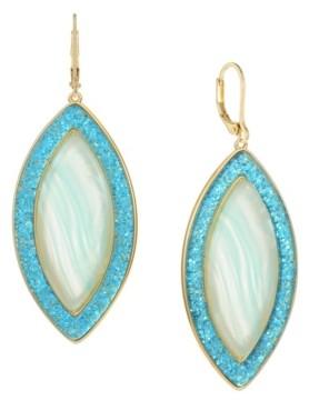 Trifari Gold-Tone Blue Glitter Drop Earrings