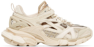 Balenciaga Tan and Off-White Track.2 Sneakers