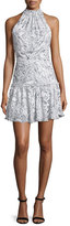 Elizabeth and James Wind Carlita Halter-Neck Mini Dress, Ivory/Navy