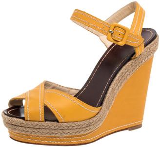 Christian Louboutin Yellow Leather Almeria Cross Strap Espadrille Wedge Sandals Size 38