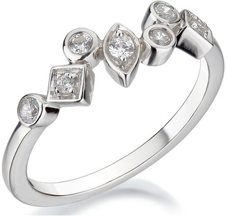 Love Diamond 9ct White Gold 15 Point Mixed Shaped Diamond Ring