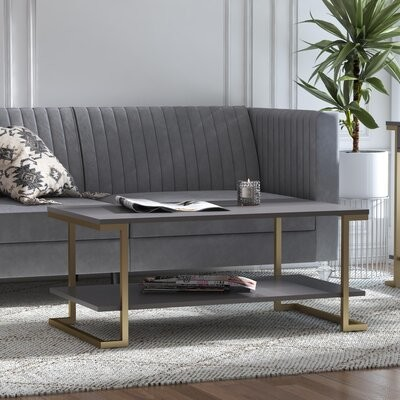 Thumbnail for your product : CosmoLiving by Cosmopolitan Camila Sled Coffee Table with Storage Color: Graphite Gray