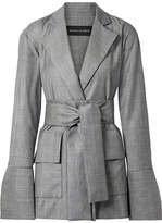Michael Lo Sordo - Belted Prince Of Wales Checked Wool Blazer - Gray