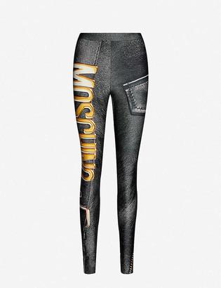 Moschino Logo-print skinny mid-rise stretch-woven leggings